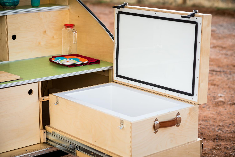 Pika Teardrop Trailer 45 Liter Custom Wood Cooler w/ Countertop Lid